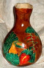 Toucan gourd vase