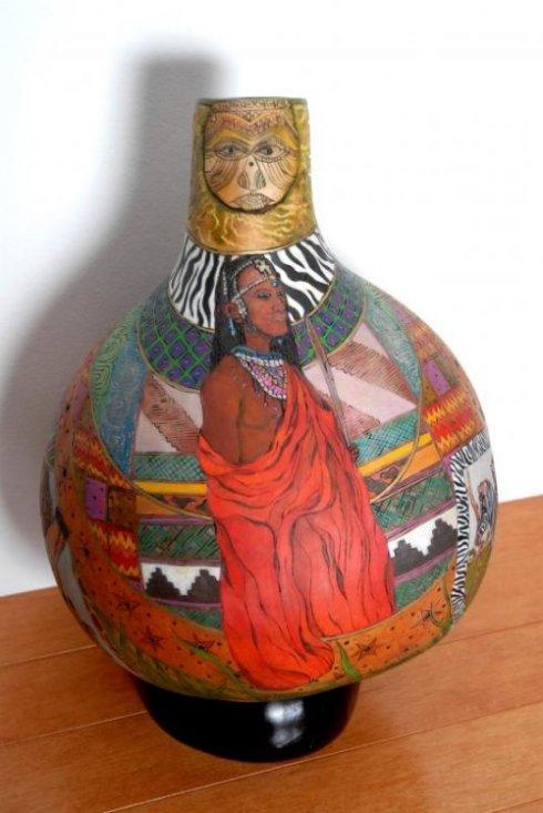 Gerri Bishop gourd art vessel