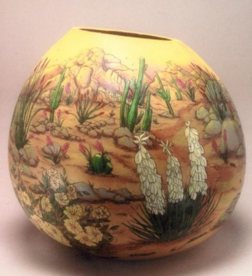 Gerri Bishop gourd art bowl
